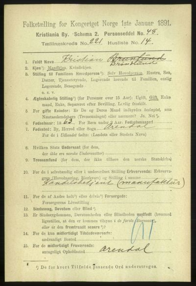 Image from object titled Folketelling 1891 - Kristiania - personsedler - side 132893