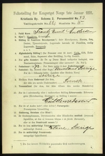 Image from object titled Folketelling 1891 - Kristiania - personsedler - side 132957