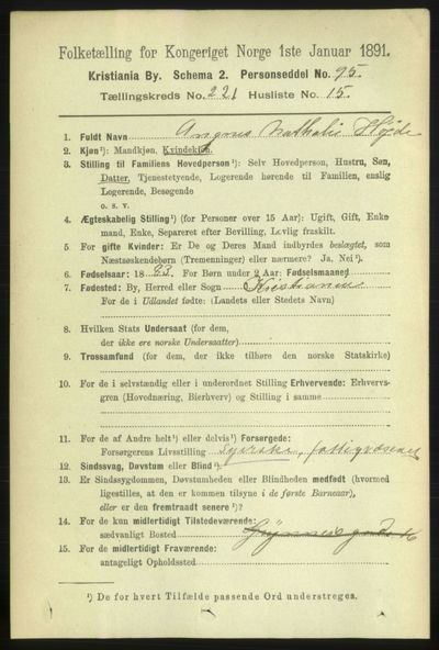Image from object titled Folketelling 1891 - Kristiania - personsedler - side 133009