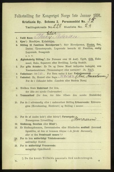 Image from object titled Folketelling 1891 - Kristiania - personsedler - side 133095