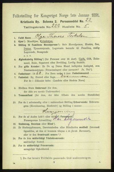 Image from object titled Folketelling 1891 - Kristiania - personsedler - side 133209