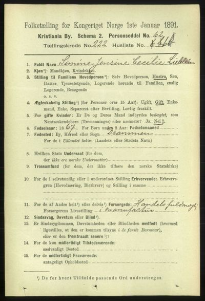 Image from object titled Folketelling 1891 - Kristiania - personsedler - side 133303
