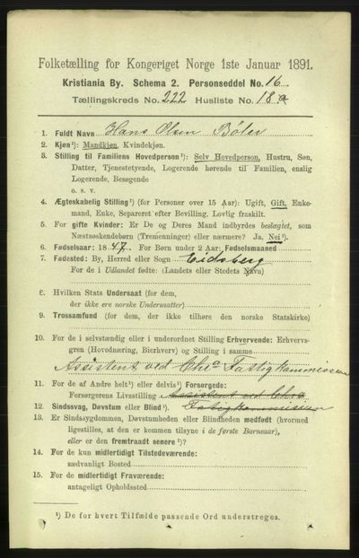 Image from object titled Folketelling 1891 - Kristiania - personsedler - side 133847