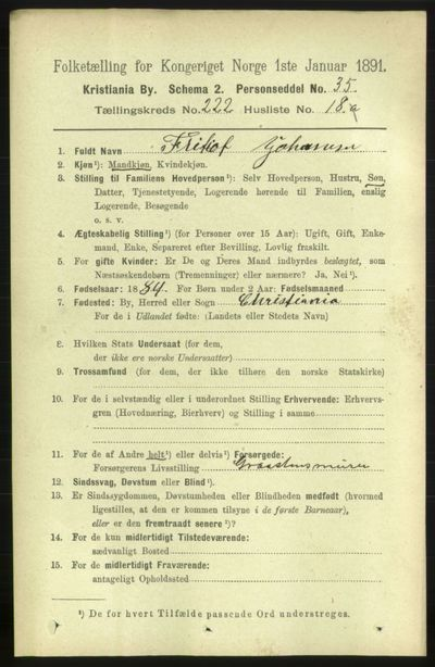 Image from object titled Folketelling 1891 - Kristiania - personsedler - side 133866