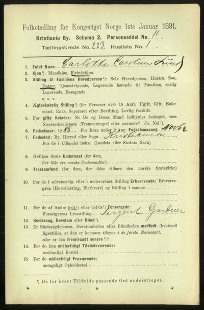 Image from object titled Folketelling 1891 - Kristiania - personsedler - side 134216