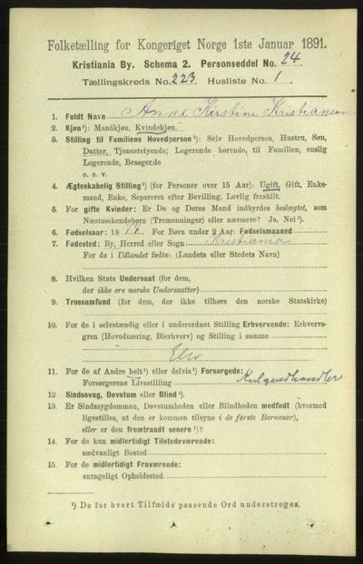 Image from object titled Folketelling 1891 - Kristiania - personsedler - side 134229