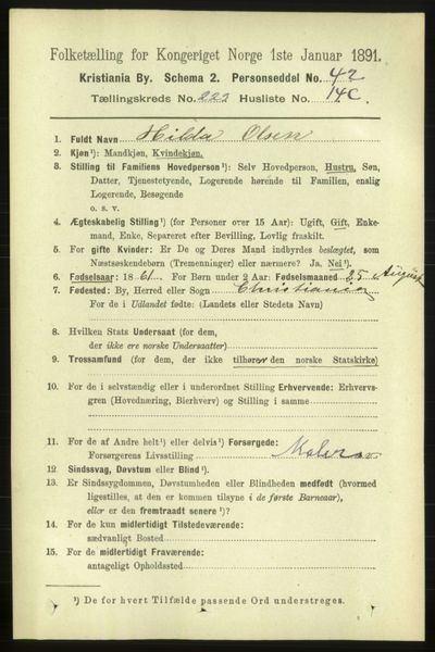 Image from object titled Folketelling 1891 - Kristiania - personsedler - side 134667