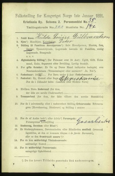 Image from object titled Folketelling 1891 - Kristiania - personsedler - side 134744