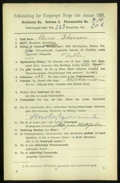 Image from object titled Folketelling 1891 - Kristiania - personsedler - side 135158