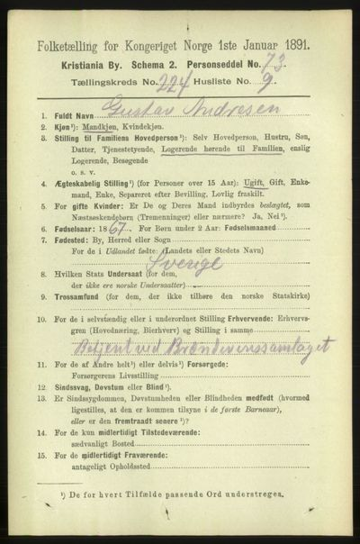 Image from object titled Folketelling 1891 - Kristiania - personsedler - side 135607