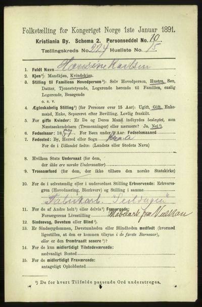 Image from object titled Folketelling 1891 - Kristiania - personsedler - side 135794
