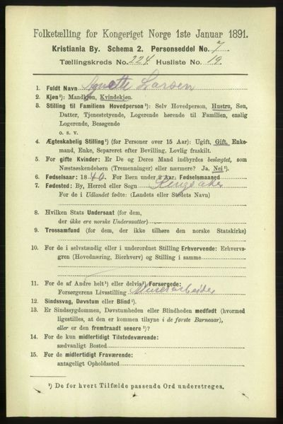 Image from object titled Folketelling 1891 - Kristiania - personsedler - side 136089