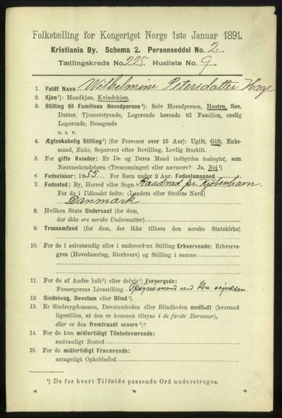 Image from object titled Folketelling 1891 - Kristiania - personsedler - side 136798