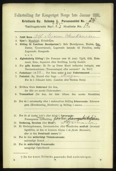 Image from object titled Folketelling 1891 - Kristiania - personsedler - side 136906