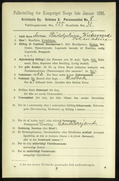 Image from object titled Folketelling 1891 - Kristiania - personsedler - side 137212