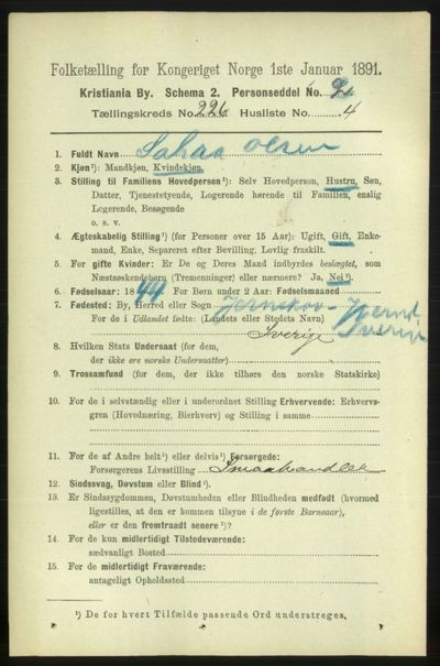 Image from object titled Folketelling 1891 - Kristiania - personsedler - side 137548