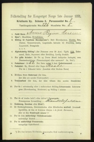 Image from object titled Folketelling 1891 - Kristiania - personsedler - side 137613