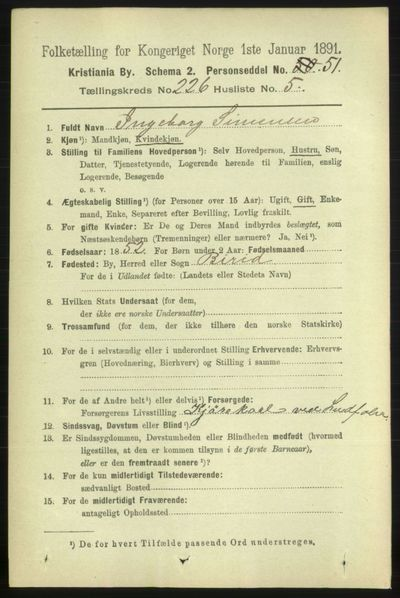 Image from object titled Folketelling 1891 - Kristiania - personsedler - side 137656