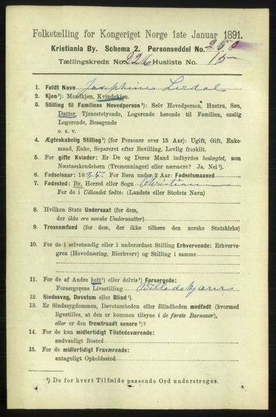 Image from object titled Folketelling 1891 - Kristiania - personsedler - side 138056