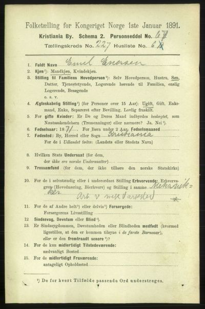 Image from object titled Folketelling 1891 - Kristiania - personsedler - side 138746