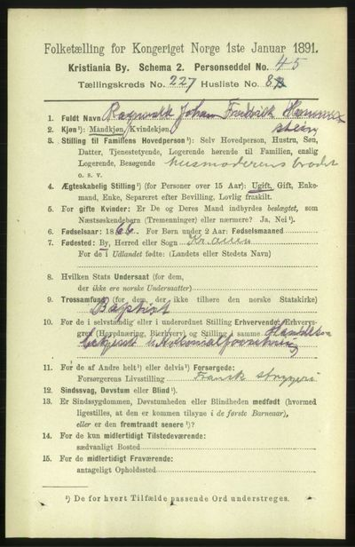 Image from object titled Folketelling 1891 - Kristiania - personsedler - side 138866