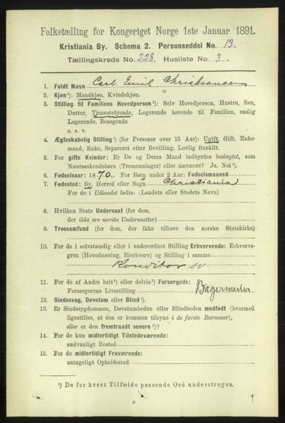 Image from object titled Folketelling 1891 - Kristiania - personsedler - side 139392