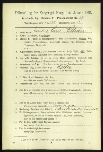 Image from object titled Folketelling 1891 - Kristiania - personsedler - side 139745