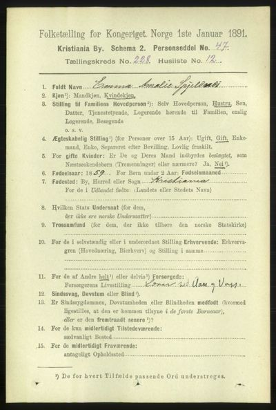 Image from object titled Folketelling 1891 - Kristiania - personsedler - side 139763