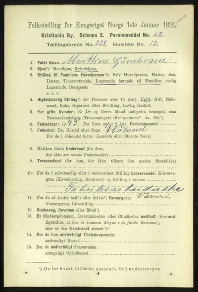Image from object titled Folketelling 1891 - Kristiania - personsedler - side 139778