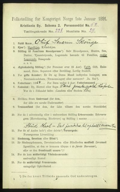 Image from object titled Folketelling 1891 - Kristiania - personsedler - side 140338