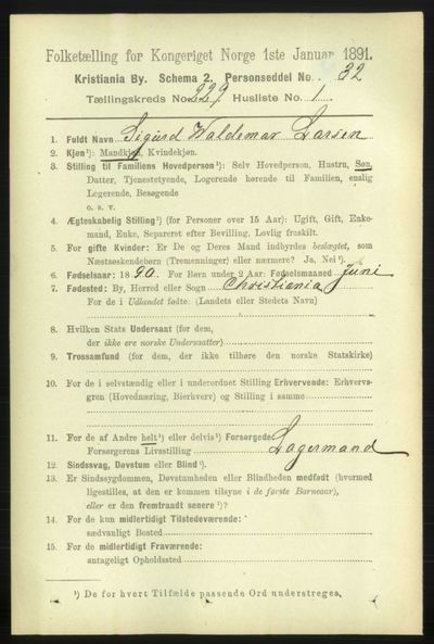 Image from object titled Folketelling 1891 - Kristiania - personsedler - side 140426