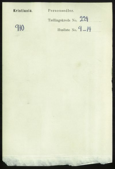 Image from object titled Folketelling 1891 - Kristiania - personsedler - side 140671