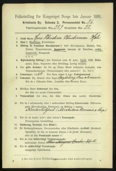 Image from object titled Folketelling 1891 - Kristiania - personsedler - side 140980