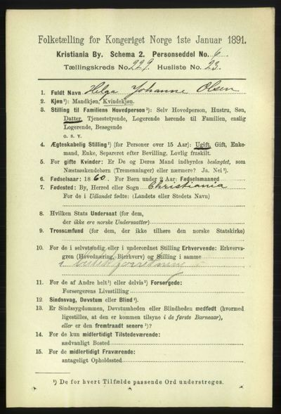 Image from object titled Folketelling 1891 - Kristiania - personsedler - side 141001