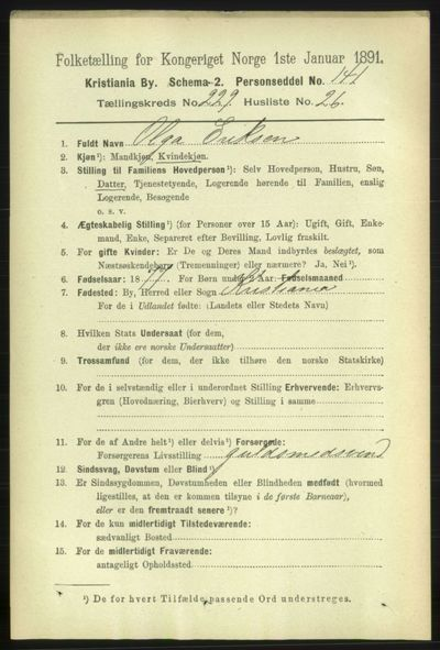Image from object titled Folketelling 1891 - Kristiania - personsedler - side 141289
