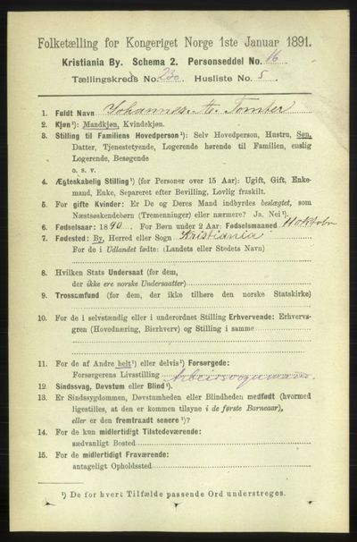 Image from object titled Folketelling 1891 - Kristiania - personsedler - side 142338