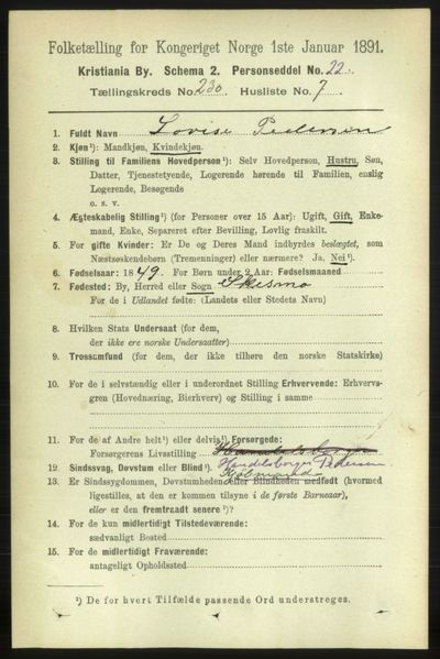 Image from object titled Folketelling 1891 - Kristiania - personsedler - side 142378