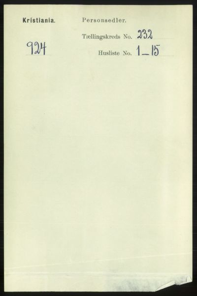 Image from object titled Folketelling 1891 - Kristiania - personsedler - side 142855