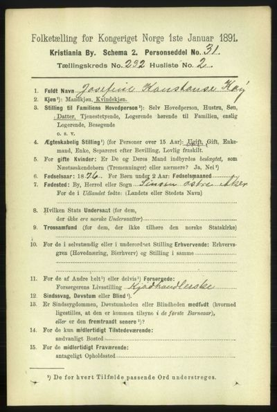 Image from object titled Folketelling 1891 - Kristiania - personsedler - side 142913
