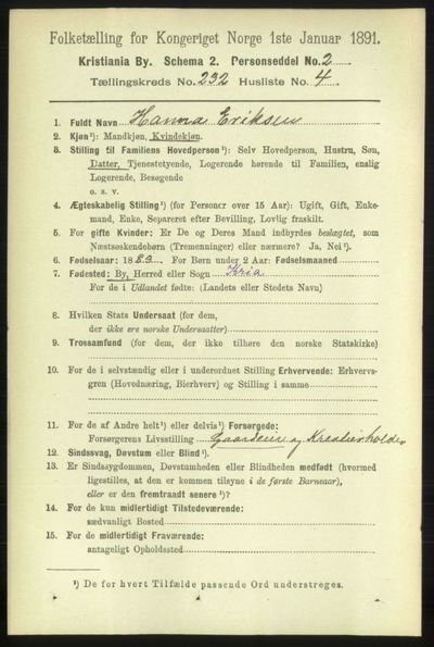 Image from object titled Folketelling 1891 - Kristiania - personsedler - side 142949