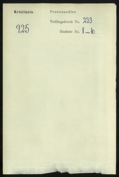 Image from object titled Folketelling 1891 - Kristiania - personsedler - side 143062
