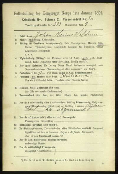 Image from object titled Folketelling 1891 - Kristiania - personsedler - side 143264
