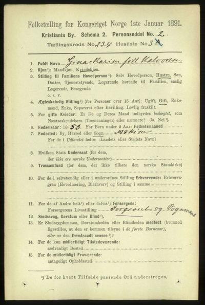 Image from object titled Folketelling 1891 - Kristiania - personsedler - side 143463