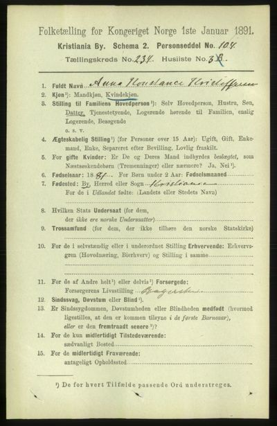 Image from object titled Folketelling 1891 - Kristiania - personsedler - side 143565