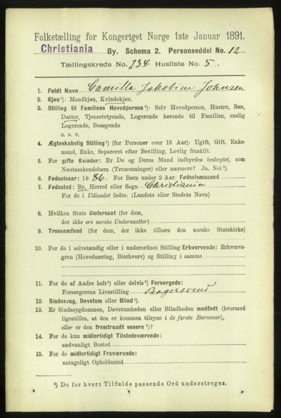Image from object titled Folketelling 1891 - Kristiania - personsedler - side 143667