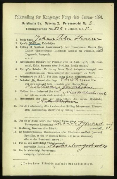Image from object titled Folketelling 1891 - Kristiania - personsedler - side 143714