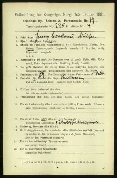 Image from object titled Folketelling 1891 - Kristiania - personsedler - side 143856