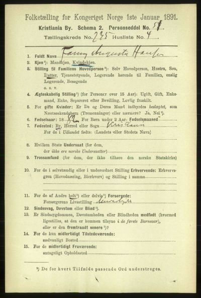 Image from object titled Folketelling 1891 - Kristiania - personsedler - side 143888