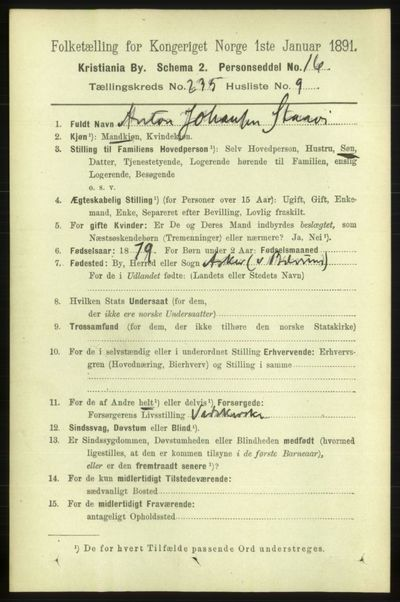 Image from object titled Folketelling 1891 - Kristiania - personsedler - side 143977
