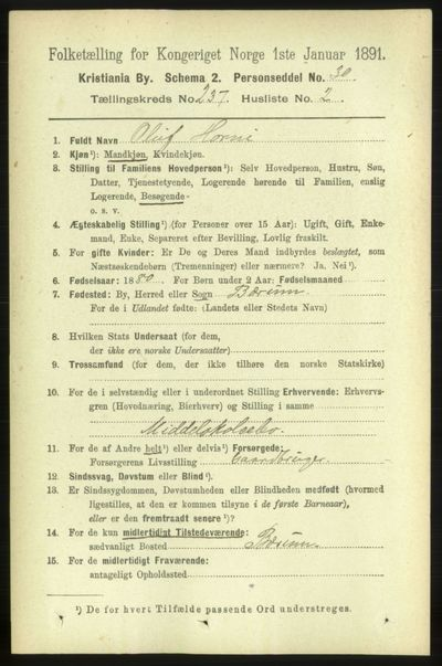 Image from object titled Folketelling 1891 - Kristiania - personsedler - side 144182